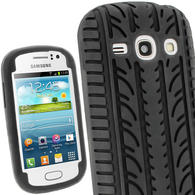 iGadgitz Black Silicone Skin Case Cover with Tyre Tread Design for Samsung Galaxy Fame S6810 + Screen Protector
