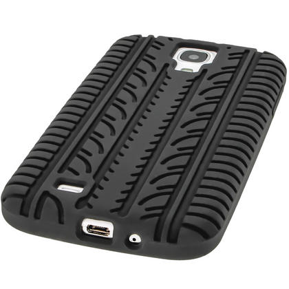 iGadgitz Black Silicone Skin Case Cover with Tyre Tread Design for Samsung Galaxy S4 IV I9500 + Screen Protector Thumbnail 4