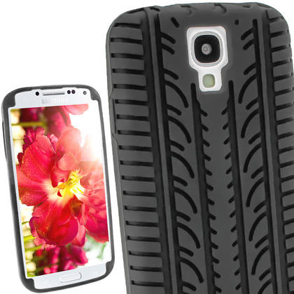 iGadgitz Black Silicone Skin Case Cover with Tyre Tread Design for Samsung Galaxy S4 IV I9500 + Screen Protector Thumbnail 1