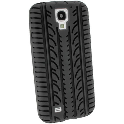 iGadgitz Black Silicone Skin Case Cover with Tyre Tread Design for Samsung Galaxy S4 IV I9500 + Screen Protector Thumbnail 3