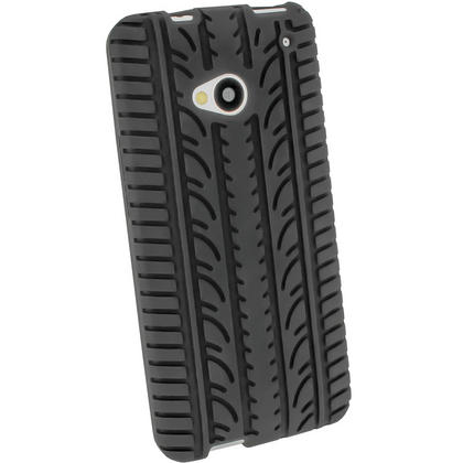 iGadgitz Black Silicone Skin Case Cover with Tyre Tread Design for HTC One M7 + Screen Protector Thumbnail 3