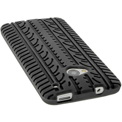 iGadgitz Black Silicone Skin Case Cover with Tyre Tread Design for HTC One M7 + Screen Protector Thumbnail 5