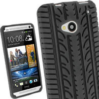 iGadgitz Black Silicone Skin Case Cover with Tyre Tread Design for HTC One M7 + Screen Protector