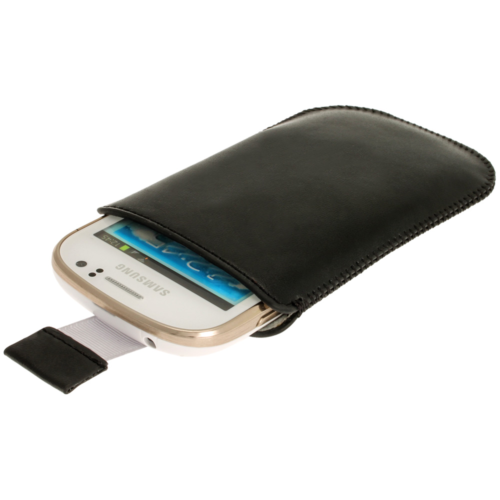 iGadgitz Black Leather Pouch Case Cover for Samsung Galaxy Fame S6810 Android Smartphone Mobile Phone