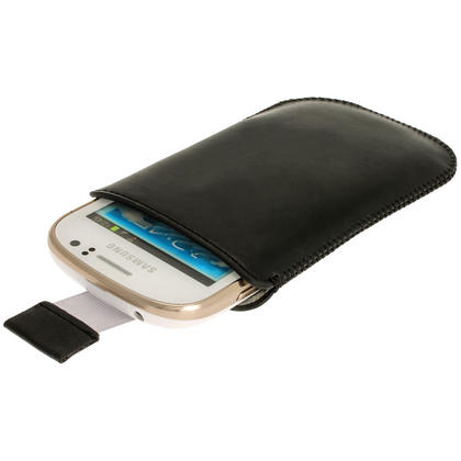 iGadgitz Black Leather Pouch Case Cover for Samsung Galaxy Fame S6810 Android Smartphone Mobile Phone Thumbnail 1