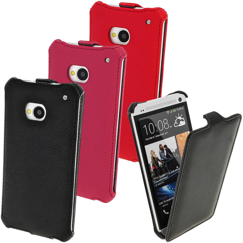 iGadgitz PU Leather Flip Case for HTC One M7 Android Mobile Phone (various colours)