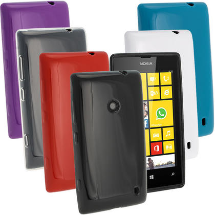 iGadgitz Tinted Glossy Crystal Gel Case for Nokia Lumia 520 Smartphone + Screen Protector (various colours) Thumbnail 1