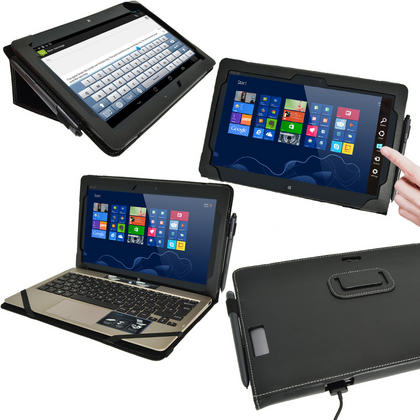 "iGadgitz 'Portfolio' Genuine Leather Case for Asus Vivo Tab TF810C TF810 11.6"" Tablet & Keyboard Dock (various colours) Thumbnail 2"