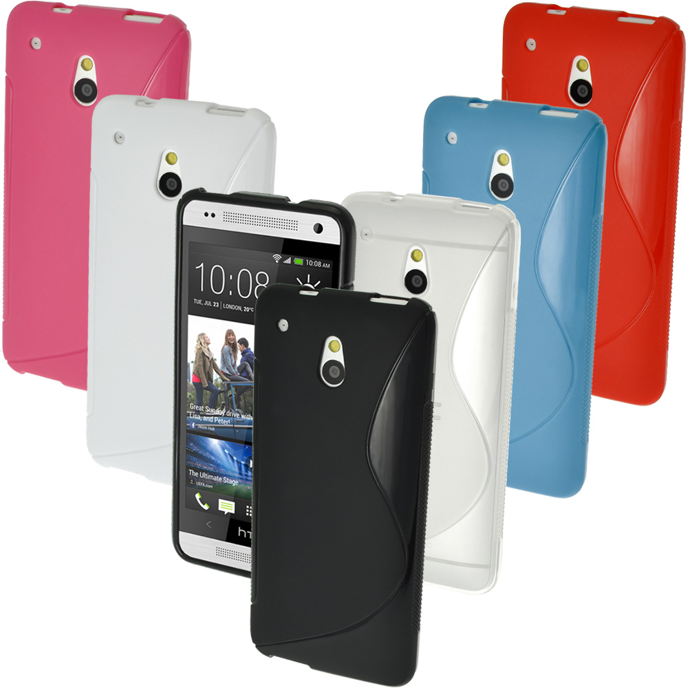 iGadgitz S Line Crystal Gel Case for HTC One Mini M4 Android Smartphone + Screen Protector (various colours)
