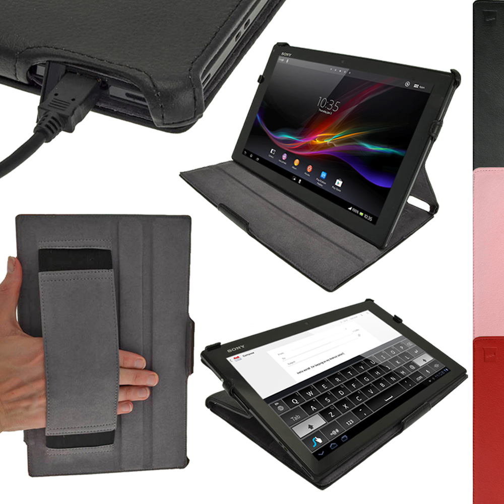 iGadgitz PU Leather Case for Sony Xperia Tablet Z LTE Tablet with Sleep/Wake & Integrated Hand Strap (various colours)