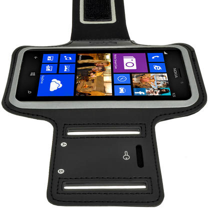 iGadgitz Black Reflective Anti-Slip Neoprene Sports Armband for Nokia Lumia 925 Thumbnail 4