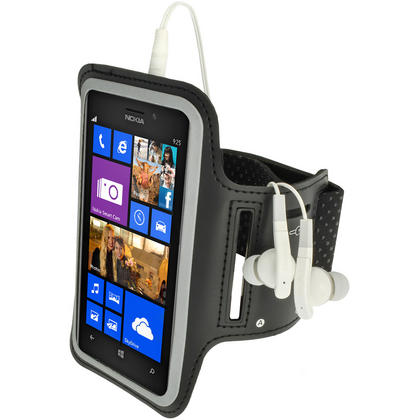 iGadgitz Black Reflective Anti-Slip Neoprene Sports Armband for Nokia Lumia 925 Thumbnail 1