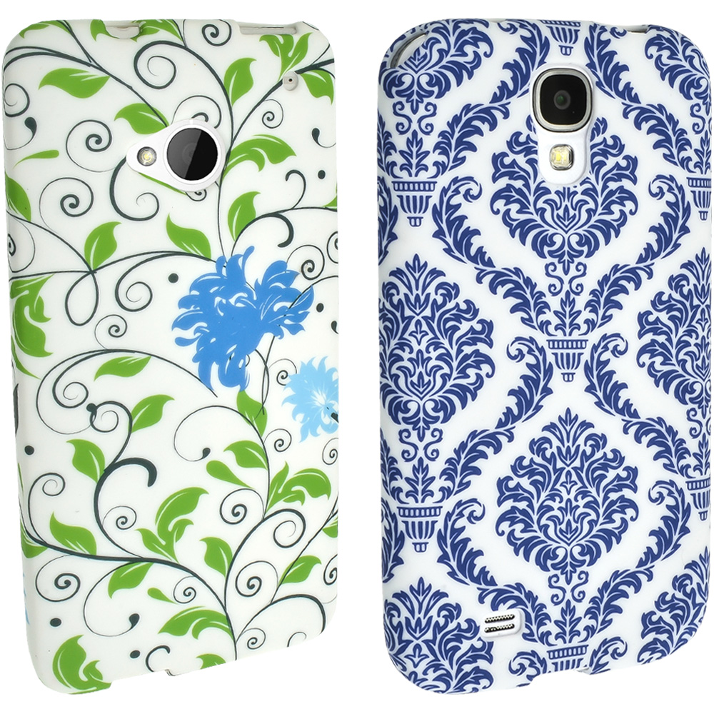 iGadgitz Blue Flower TPU Case with Rubberised Finish for Samsung Galaxy S4 I9500 I9505 & HTC One M7 + Screen Protector