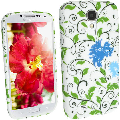 iGadgitz Blue Flower TPU Case with Rubberised Finish for Samsung Galaxy S4 I9500 I9505 & HTC One M7 + Screen Protector Thumbnail 2