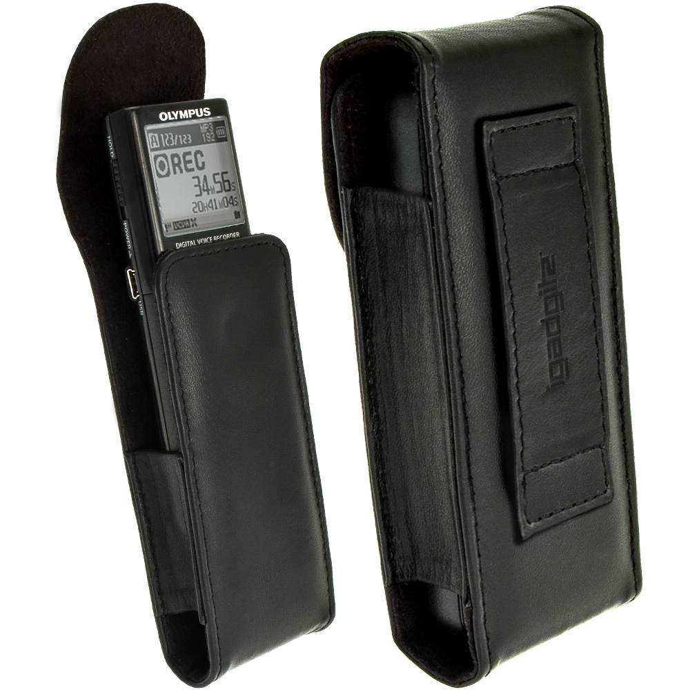 iGadgitz Black Genuine Leather Case Cover for Olympus VN-713PC Voice Recorder Digital Dictaphone