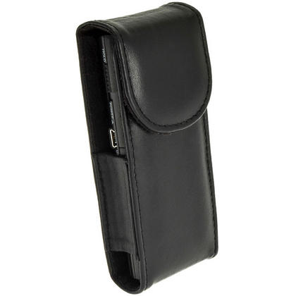 iGadgitz Black Genuine Leather Case Cover for Olympus VN-713PC Voice Recorder Digital Dictaphone Thumbnail 2
