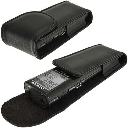 iGadgitz Black Genuine Leather Case Cover for Olympus VN-713PC Voice Recorder Digital Dictaphone Thumbnail 6