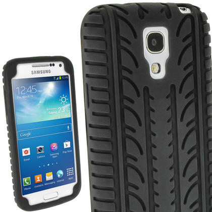 iGadgitz Black Silicone Skin Case with Tyre Tread Design for Samsung Galaxy S4 SIV Mini I9190 I9195 + Screen Protector Thumbnail 1