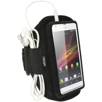 iGadgitz Black Neoprene Sports Gym Jogging Armband for Sony Xperia SP Android Smartphone Mobile Phone Thumbnail 1