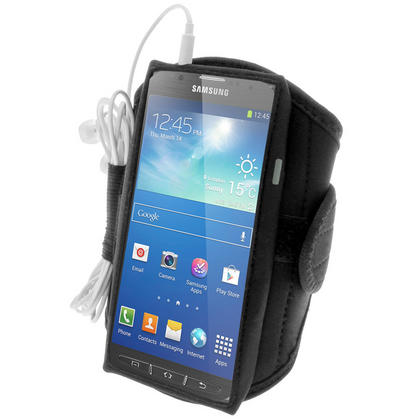 iGadgitz Black Neoprene Sports Gym Jogging Armband for Samsung Galaxy S4 Active I9295 Android Smartphone Mobile Phone Thumbnail 3
