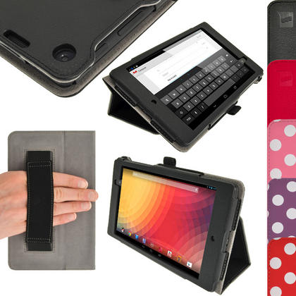 iGadgitz PU Leather Case for Google Nexus 7 FHD 2nd Gen Tablet (2013) With Sleep/Wake, Hand Strap + Screen Protector Thumbnail 1