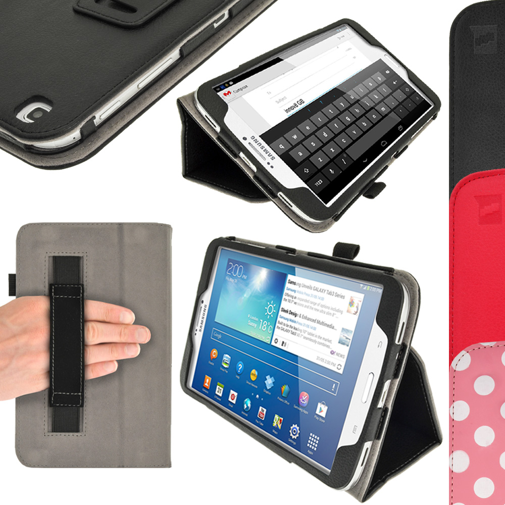 iGadgitz PU Leather Case for Samsung Galaxy Tab 3 8.0? SM-T310 T311 T315 With Sleep/Wake, Hand Strap + Screen Protector