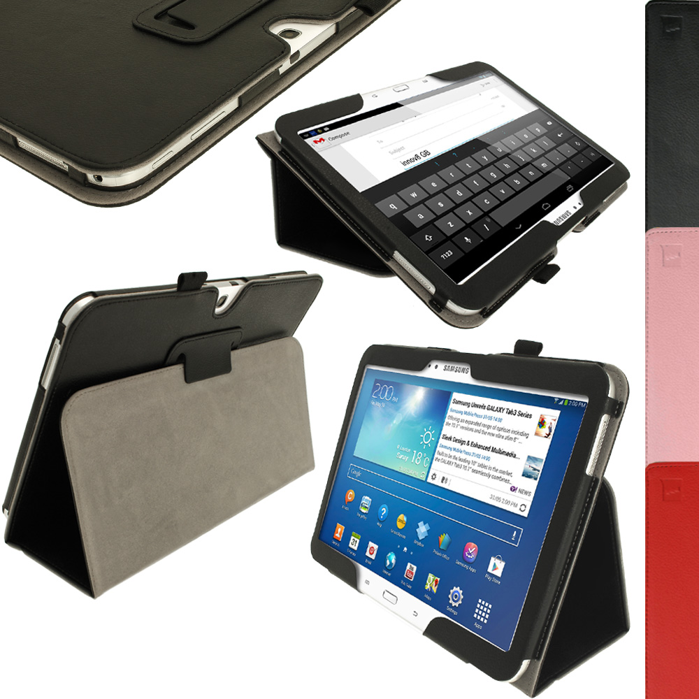 iGadgitz PU Leather Case for Samsung Galaxy Tab 3 10.1? GT-P5210 P5200 P5220, Sleep/Wake, Hand Strap + Screen Protector
