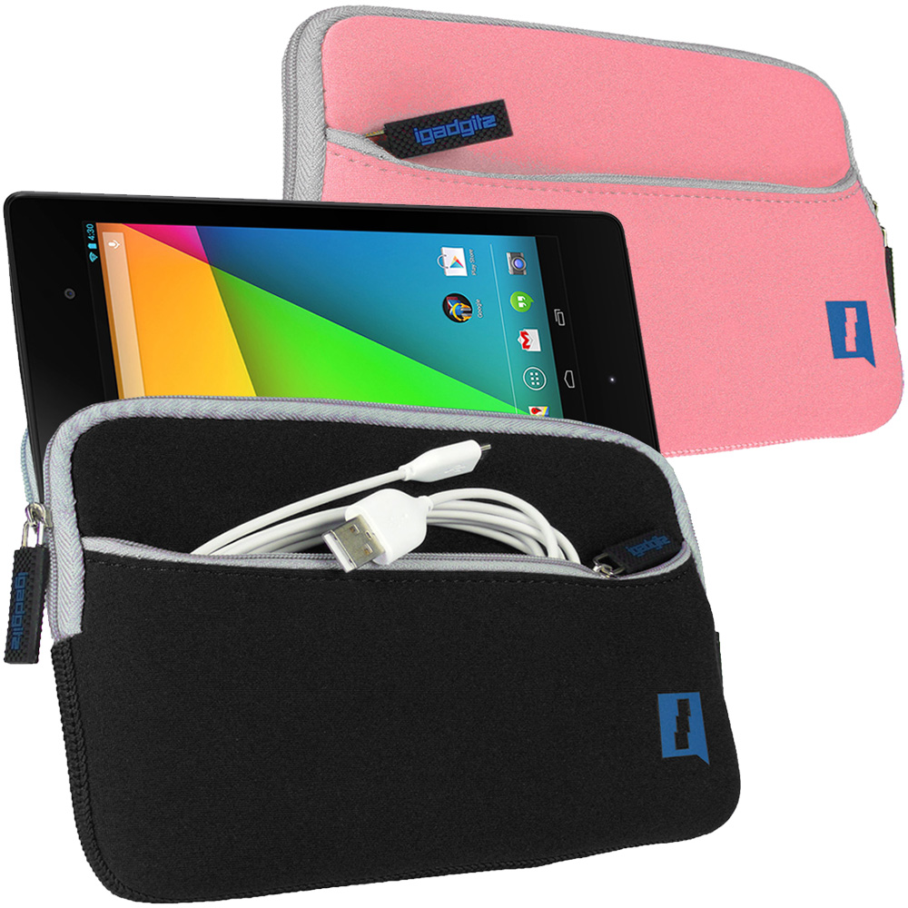 iGadgitz Neoprene Sleeve Case with Front Pocket for Google Nexus 7 2nd Gen Tablet (released Aug 2013) (various colours)