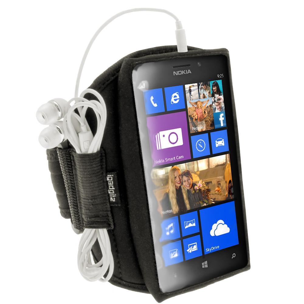 iGadgitz Black Neoprene Sports Gym Jogging Armband for Nokia Lumia 925 Windows Smartphone Mobile Phone