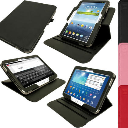 iGadgitz 360° Rotating PU Leather Case for Samsung Galaxy Tab 3 10.1? GT-P5210 P5200 P5220 Sleep/Wake + Screen Protector Thumbnail 1