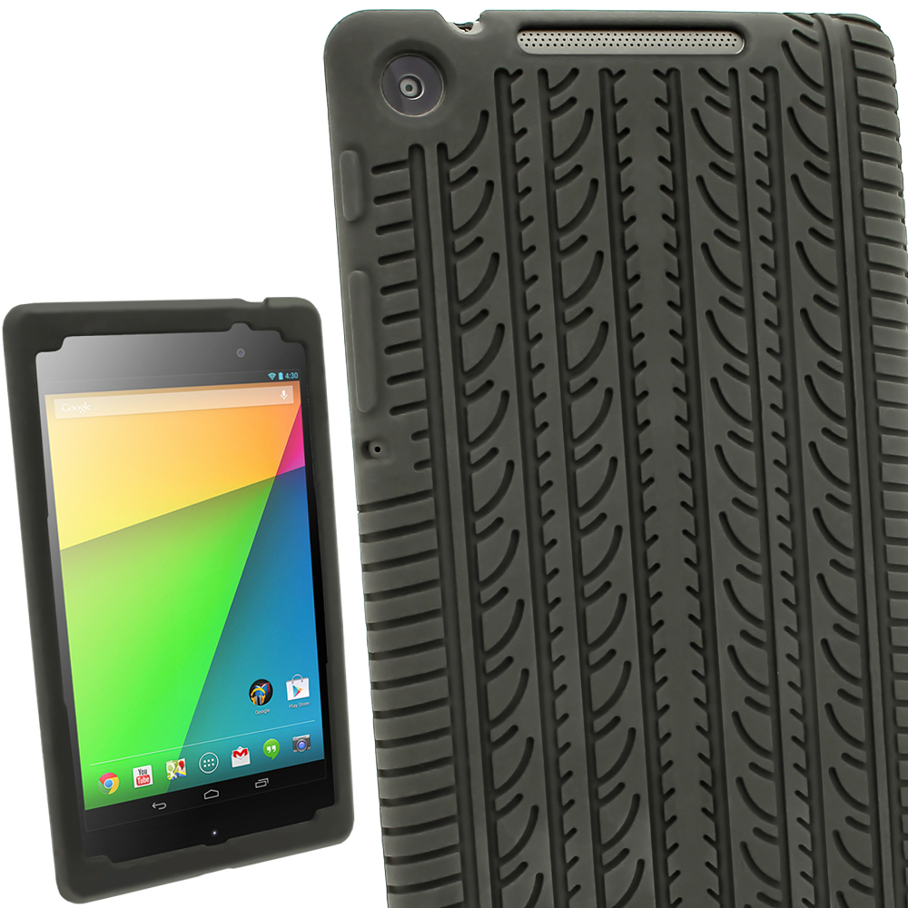 iGadgitz Black Tyre Tread Silicone Case for Asus Google Nexus 7 FHD (2nd Gen released Aug 13) + Screen Protector