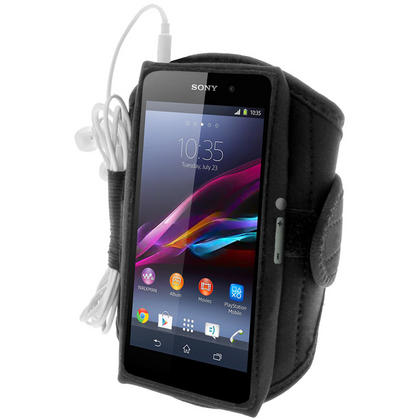 iGadgitz Black Sports Armband for Sony Xperia Z1 Honami C6902 L39H C6903 C6906 C6943 (Not suitable for Z1 F Mini) Thumbnail 1