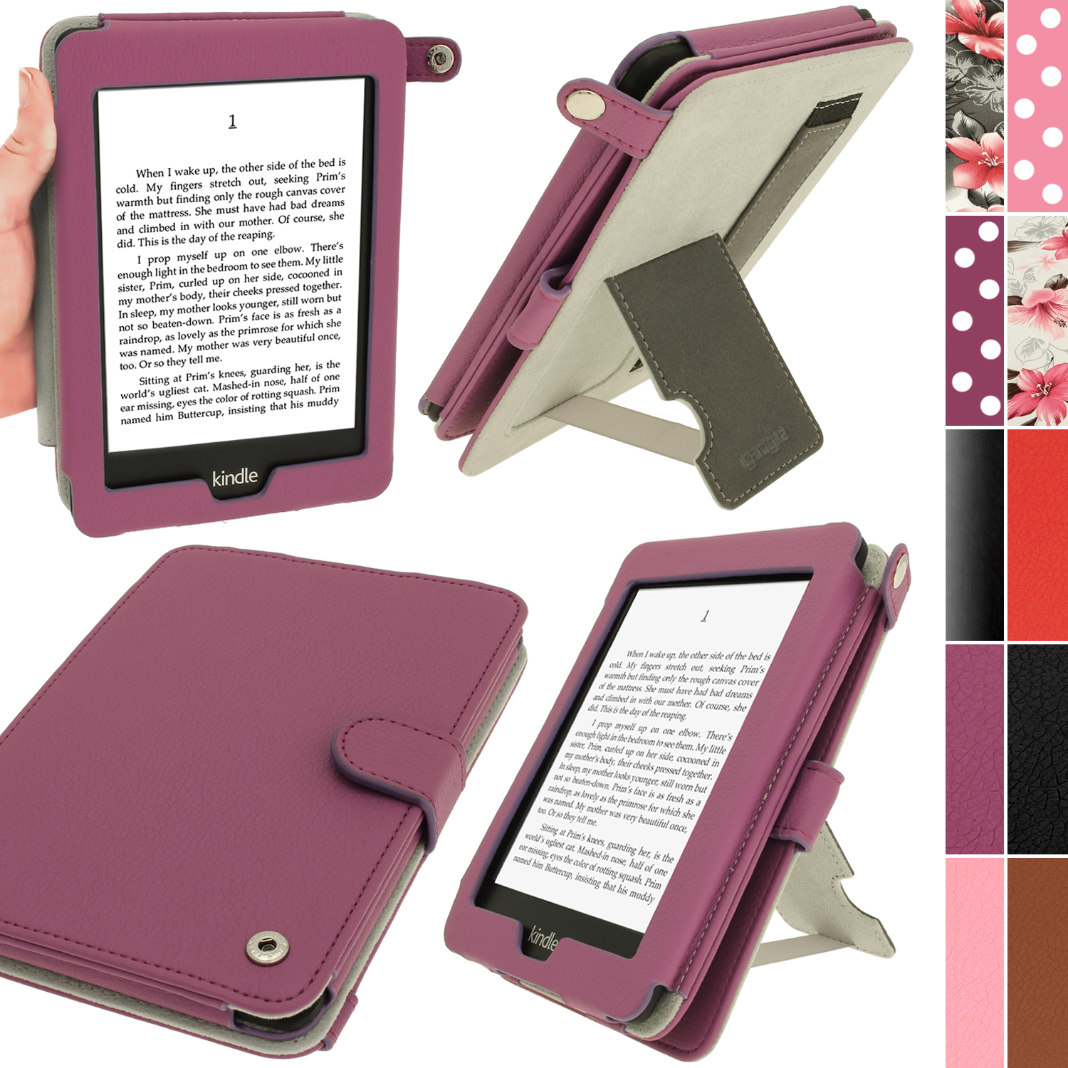 iGadgitz Purple PU 'Bi-View' Leather Case for Amazon Kindle Paperwhite 2015 2014 2013 2012 With Sleep/Wake & Hand Strap