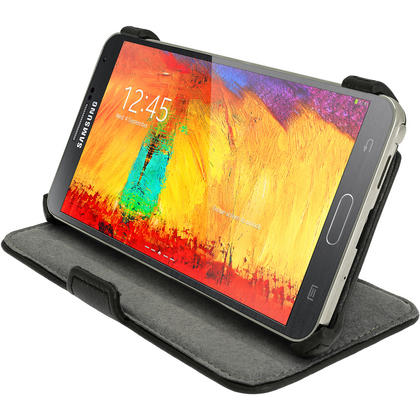 iGadgitz Black PU Leather Flip Case Cover Holder for Samsung Galaxy Note 3 III Android Smartphone + Screen Protector Thumbnail 6