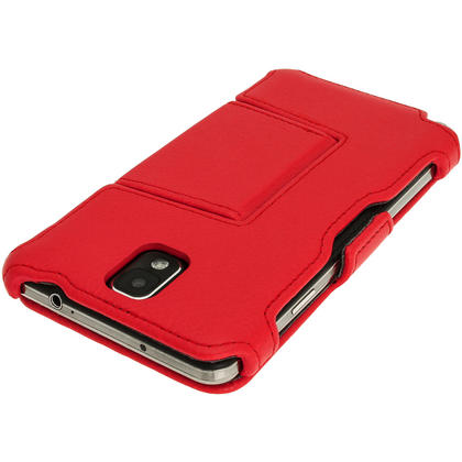 iGadgitz Red PU Leather Flip Case Cover Holder for Samsung Galaxy Note 3 III Android Smartphone + Screen Protector Thumbnail 3