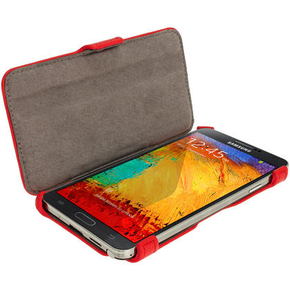 iGadgitz Red PU Leather Flip Case Cover Holder for Samsung Galaxy Note 3 III Android Smartphone + Screen Protector Thumbnail 4