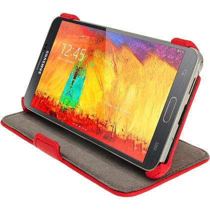 iGadgitz Red PU Leather Flip Case Cover Holder for Samsung Galaxy Note 3 III Android Smartphone + Screen Protector Thumbnail 6