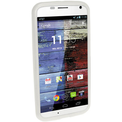 iGadgitz Frosted Clear Glossy Gel Case for Motorola Moto X 4.2 Jelly Bean Smartphone + Screen Protector Thumbnail 2