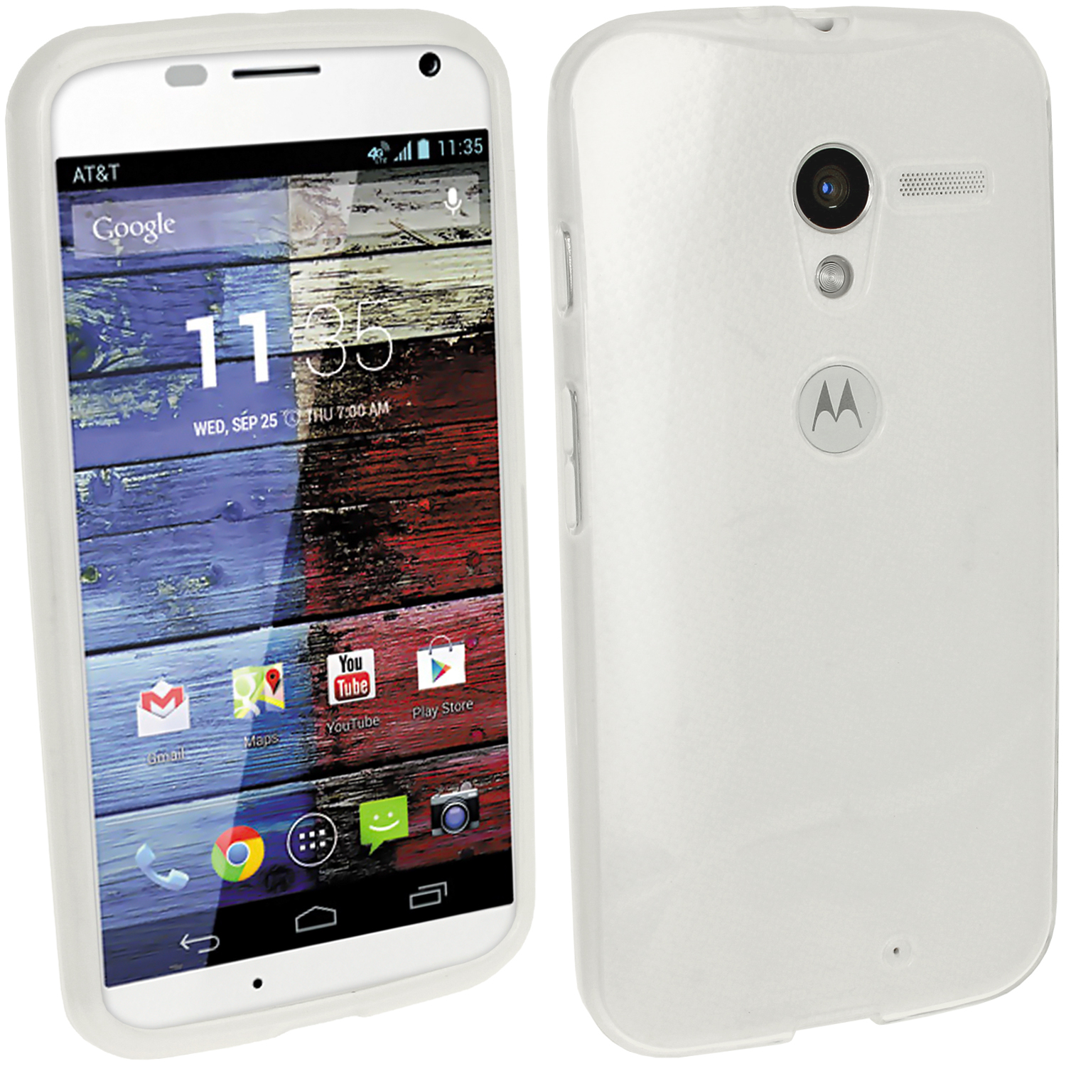 iGadgitz Frosted Clear Glossy Gel Case for Motorola Moto X 4.2 Jelly Bean Smartphone + Screen Protector