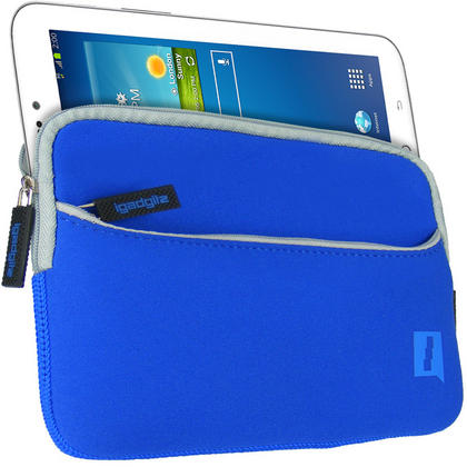 iGadgitz Blue Neoprene Sleeve with Front Pocket for Samsung Galaxy Tab 1, 2, 3 7.0? P1000 P1010 P3110 P3100 T210 T211 Thumbnail 1