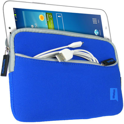 iGadgitz Blue Neoprene Sleeve with Front Pocket for Samsung Galaxy Tab 1, 2, 3 7.0? P1000 P1010 P3110 P3100 T210 T211 Thumbnail 2