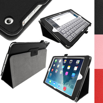 iGadgitz 'Ergo-Portfolio' PU Leather Case for Apple iPad Air Oct 2013 with Sleep/Wake + Screen Prot. (various colours) Thumbnail 1