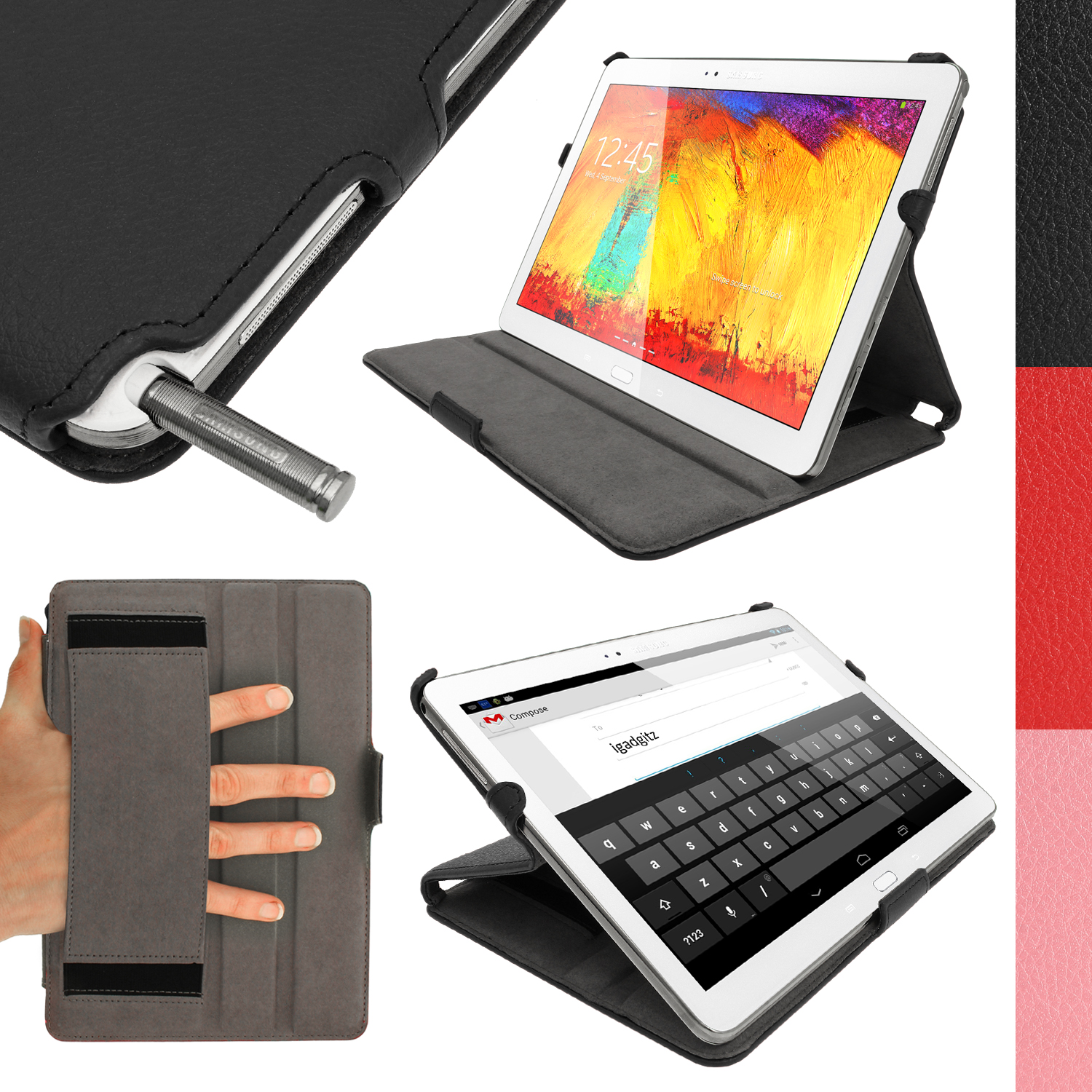 "iGadgitz PU Leather Case for Samsung Galaxy Note 10.1"" P600 P601 & Tab Pro 10.1"" T520 T525 Sleep/Wake + Screen Protector"