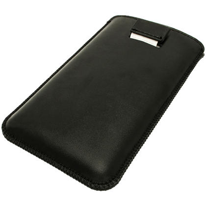 iGadgitz Black Leather Pouch Case Cover for HTC One Mini M4 Android Smartphone Mobile Phone Thumbnail 2