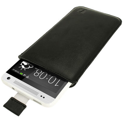 iGadgitz Black Leather Pouch Case Cover for HTC One Mini M4 Android Smartphone Mobile Phone Thumbnail 1