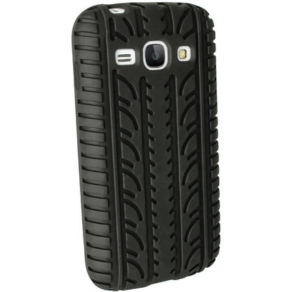iGadgitz Black Tyre Tread Silicone Case for Samsung Galaxy Ace 3 GT-S7275 GT-S7270 GT-S7272 + Screen Protector Thumbnail 3