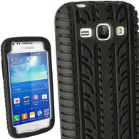 iGadgitz Black Tyre Tread Silicone Case for Samsung Galaxy Ace 3 GT-S7275 GT-S7270 GT-S7272 + Screen Protector