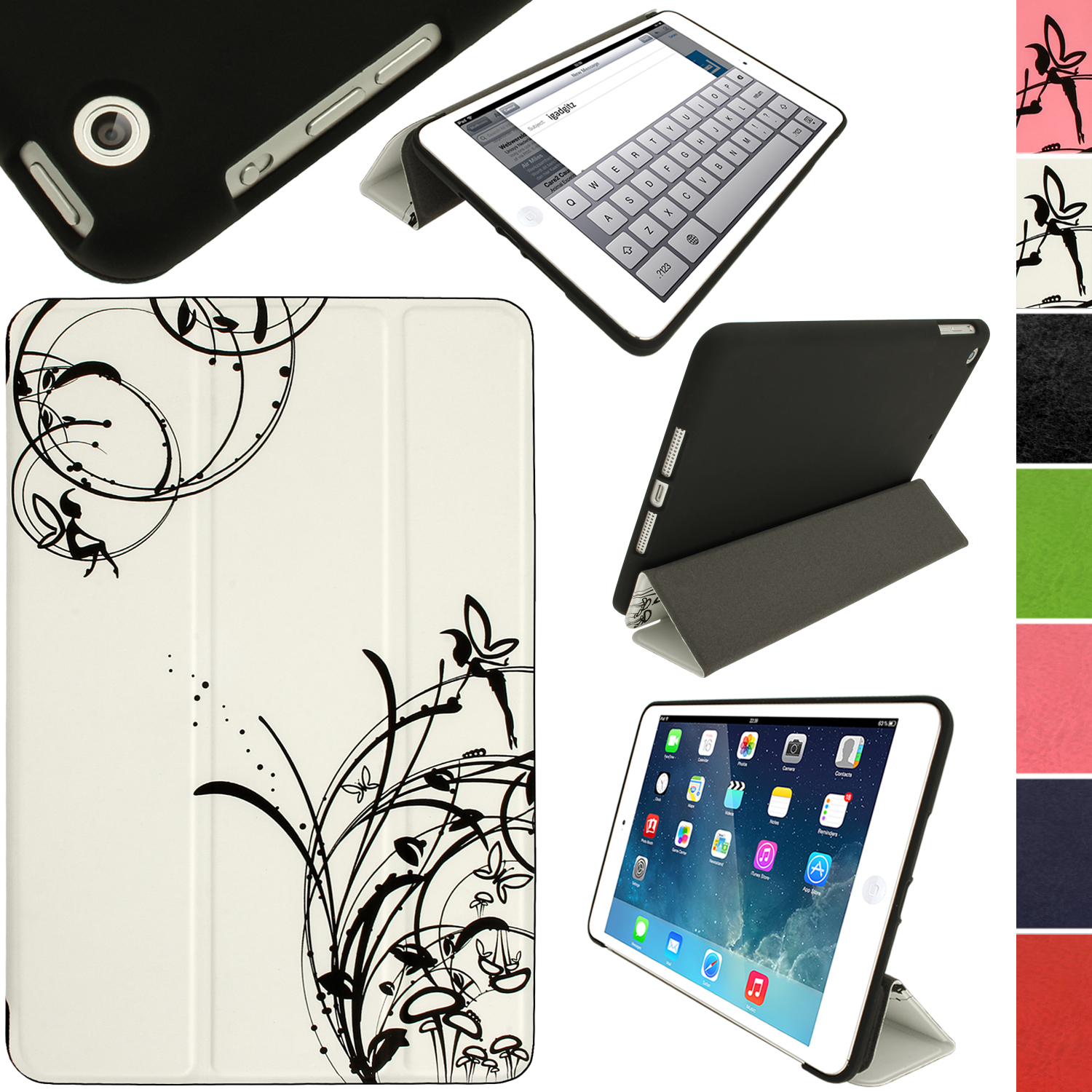 iGadgitz Fairy Butterfly Case for Apple iPad Mini + Sleep/Wake Function + Screen Protector (various colours)