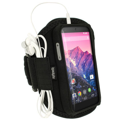 iGadgitz Black Neoprene Sports Armband for LG Google Nexus 5 LG-D820 LG-D821 4G LTE 16GB 32GB Thumbnail 1