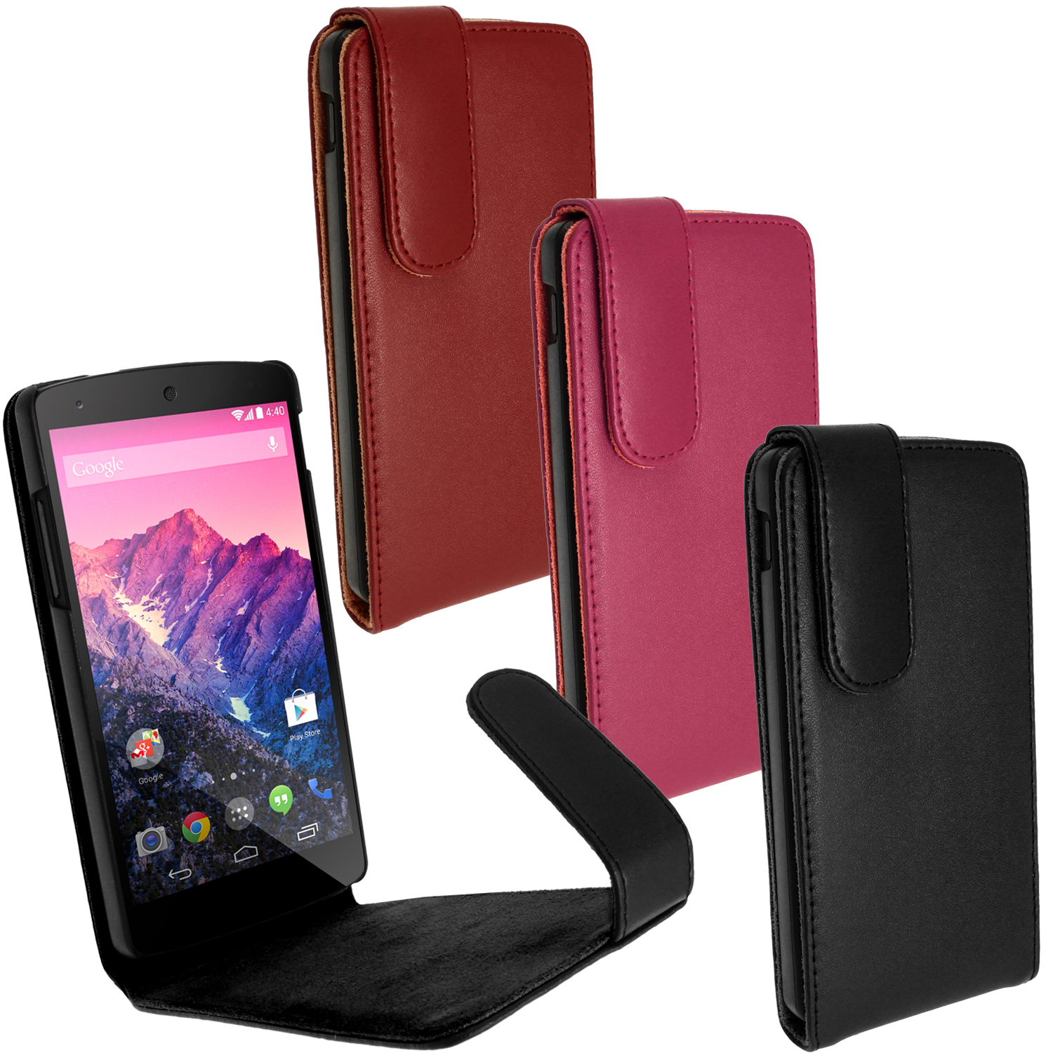 iGadgitz Leather Case for LG Google Nexus 5 Phone 16/32GB with Sleep/Wake Function + Screen Protector (various colours)